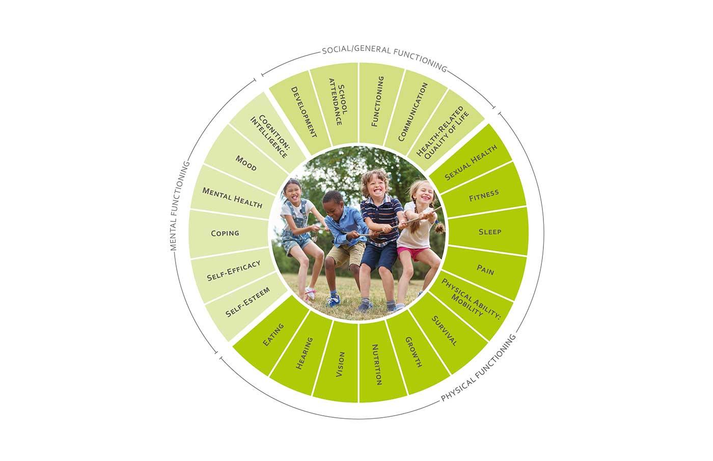 ICHOM Standard Sets Overall Paediatric Health Outcomes Wheel